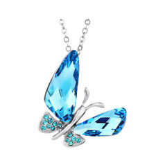 Fashion Elegant Sparkly Blue Austria Crystal Butterfly Necklace Pendant Jewelry