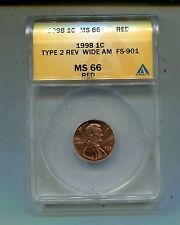 1998P Lincoln Cent-Type 2 Rev. Wide AM-FS-901-MS66 Red ANACS Lot#3