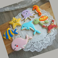 8Pcs/Set Sea Creatures Cookie Cutter Whale Dolphin Fondant Tool Biscuit Mould FE