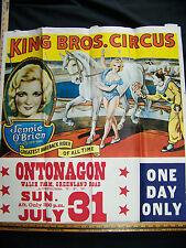 Vintage ORIGINAL1966 KING BROS CIRCUS POSTER EQUESTRIAN JENNIE O'BRIEN BAREBACK
