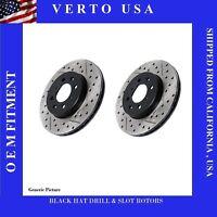 Front Brake Rotors Drill & Slot  Black Hat For Cadillac, GMC, Chevrolet