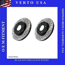 Front Brake Rotors Drill & Slot  Black Hat For Cadillac, GMC, Chevrolet