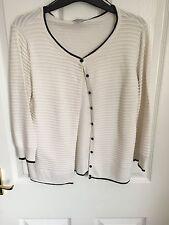 Ladies White cardigan round neck crew neck H&M - Ladies size 12-14 Size M Medium