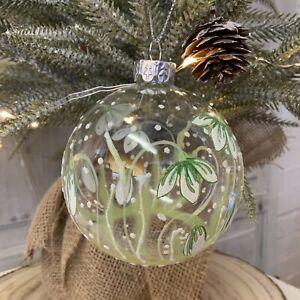Snowdrop Bauble Glass Christmas Tree Bauble Gisela Graham Decoration Flower Ball