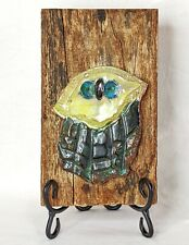 Tom and Mary Blakley Original Ceramic Owl on Wood Red Clay Artisan Whimsey