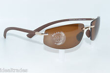 VUARNET SUNGLASSES VL1045 GOLD FRAMELESS W HIGH CONTRAST BRONZE POLARIZED LENS