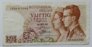 Belgium 50 Francs Banknote 1966