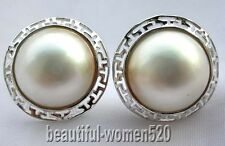 z355 HUGE Genuine 20mm white Mabe Pearl earring silver