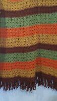 "Vintage 70s Handmade Crochet Afghan Blanket Stripe 43""x86"" Green Gold Brown"