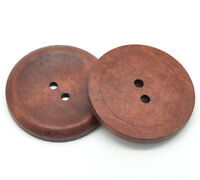 10 Round Dark Coffee Stripe 4 Holes Wood Buttons Sewing Ornaments Scrapbook 38mm