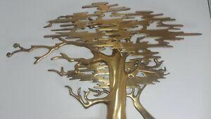 Signed Bijan Bonsai Brass Tree Wall Art Sculpture Mid Century Pebble beach