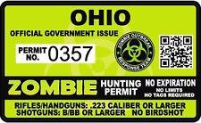 Ohio Zombie Hunting Permit Sticker Die Cut Decal outbreak response team