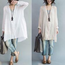 Women Linen Long Sleeve Shirt Ladies Oversized V Neck Blouse Top Boyfriend Style