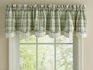 Time in the Garden Layered Valance Farmhouse Plaid Creme/Green Park Designs