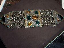 Large Art Nouveau Brass Belt Buckle W/Green & Amber Crystals