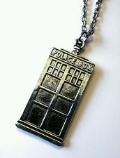 Tardis Police Box silver coloured necklace chain 20 inch