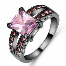 Size 7 Pink Sapphire Wedding Rings Black Rhodium Plated Party Women's Jewelry