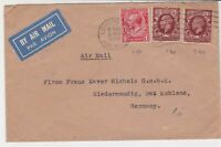 great britain 1934 london cancel to germany air mail stamps cover ref 21387