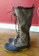 Archival LL Bean Signature Canvas Tall Army Green Lace Up Duck Boots 6 US Rare