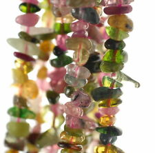 6-7MM  TOURMALINE GEMSTONE GRADE AAA RAINBOW MULTICOLOR CHIPS LOOSE BEADS 15.5""