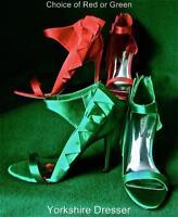 New KAREN MILLEN Extravagant *RED* Satin BOW Evening Sandals Shoes - Uk 6 / 39