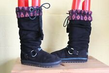 KIDS BLACK SLOUCH FABRIC BOOTS BY SKETCHERS SIZE 1/ 33.5 USED CONDITION