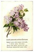 Antique colour printed postcard card Loving Greetings on your birthday card