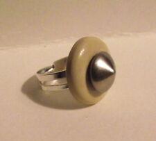 Bague réglable bouton ancien rond adjustable ring button vintage