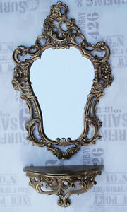 Baroque Wall Mirror + Tray Set L IN Gold Console Set Mirror 50x76 Antique Repro