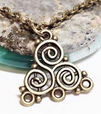 "TRISKELION_Small Bronze Pendant on 18"" Chain Necklace_Irish Celtic Triskele_203N"
