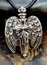 Antiqued Silver Plate Celtic Guardian Angel Pendant Necklace