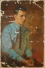 Russian Ukrainian Soviet Oil Painting man Portrait  realism