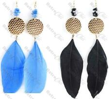 "BLACK/BLUE big FEATHER 6""long BOHO EARRINGS retro 80s hammered discs gold pltd"
