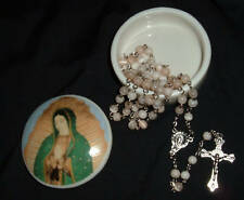 CAT EYE ROSARY w/Guadalupe Keepsake box  NIB Catholic Case Porcelain