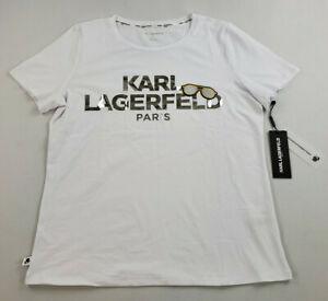 new Karl Lagerfeld Paris women tee t-shirt L1UH0040 white sunglasses sz M $49.50