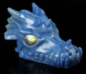 "5.3"" BLUE AVENTURINE Carved Crystal Dragon Skull & Labradorite Eyes"