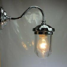 Art Deco Stil Hoflampe Messing Verchromt Terrassenlampe Glaskolben Wandlampe