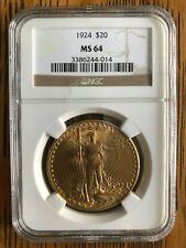 1924 $20 Saint-Gaudens Gold Double Eagle MS-64 NGC