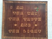 John 14:6 Hand Tooled Vintage 10 x 12 Leather Sign Wall Hanging Plaque Bible Mat