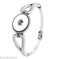 1 Bracelet Chaîne Breloque Motif Coeur Pr Bouton Pression Bijoux DIY 18cm