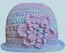 CROCHETED BABY GIRL WINTER CLOCHE HAT gift photoprop blue flower winter 20 brim