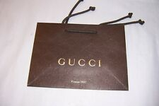 LOT OF 5 GUCCI BROWN GUCCISSIMA PAPER GIFT SHOPPING BAGS WITH GOLD ACCENTS