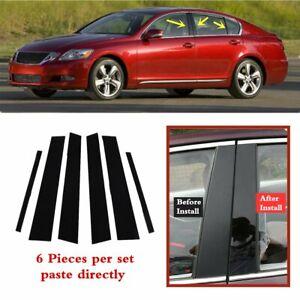 6pc Set Door Trim Pillar Posts Cover Black Fit For Lexus GS 2006-2011 GS430