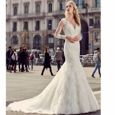 White Ivory Lace Mermaid Wedding Dress Bridal Gown Custom Size 4 6 8 10 12 14 16