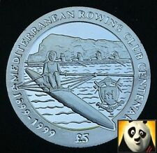 1999 SCARCE GIBRALTAR £5 Five Pound Mediterranean Rowing Club Silver Proof Coin