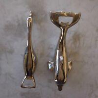 2 bouchons décapsuleurs dauphin oie métal chrome argenté design XXe