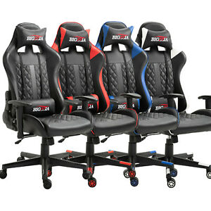 Racing Chair Gaming Computer Chair Home Office Recliner Leather Back Neck Pillow