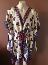 New Boho Kaftan tunic top blouse coverup mix-cotton beach summer print KFT1002
