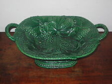 FESTIVE ANTIQUE ENGLISH GREEN  MAJOLICA LARGE TWIN HANDLED COMPORT GRAPES  VINE