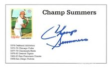 Deceased baseball player Champ Summers autographed 3x5 with photo 1974-84